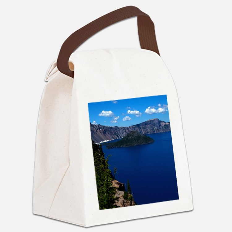 (4) Crater Lake  Wizard Island Canvas Lunch Bag