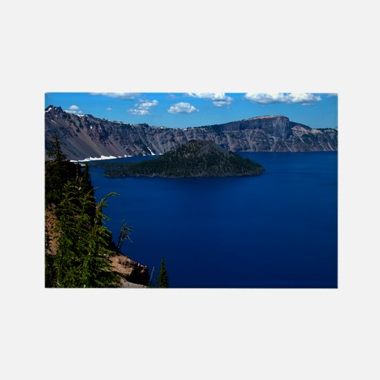 (4) Crater Lake  Wizard Island Rectangle Magnet