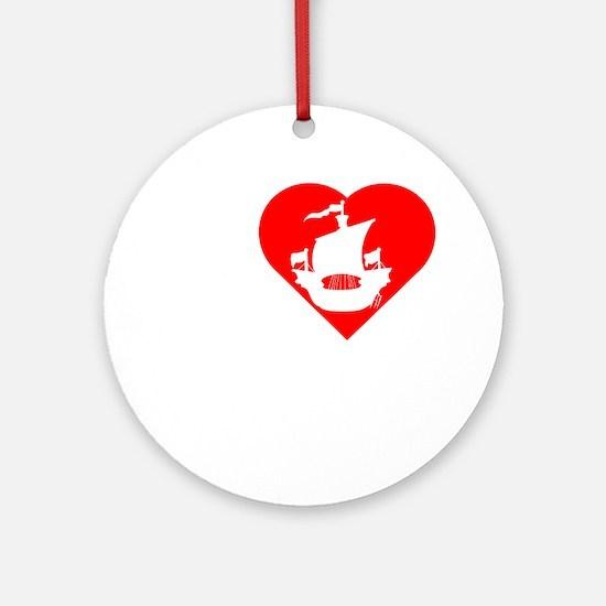 I-Heart-Pirates-dark Round Ornament