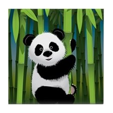 Panda in Bamboo Tile Coaster