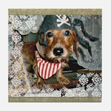 Doxie in Pirate Costume Tile Coaster