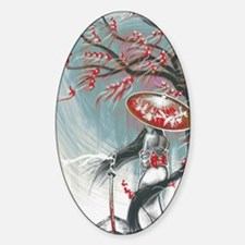 Kindle Sleeve Samurai Woman Sticker (Oval)