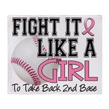 - FLAG for 2nd Base Breast Cancer Throw Blanket