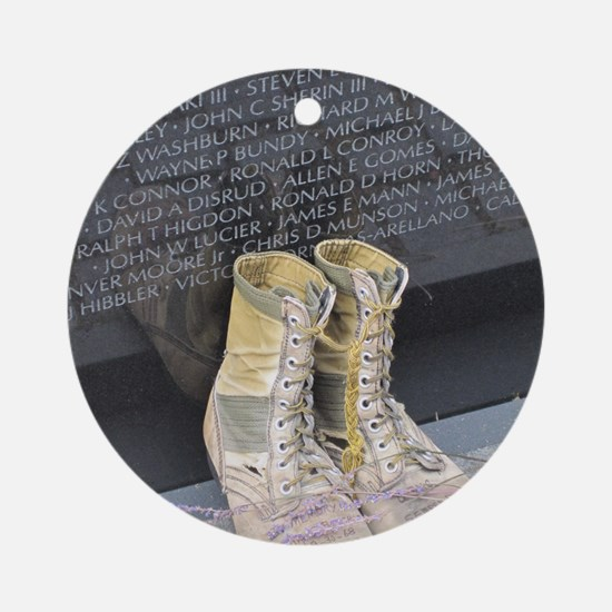 Boots at Vietnam Veterans Memorial  Round Ornament