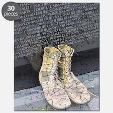 Boots at Vietnam Veterans Memorial Wall Puzzle