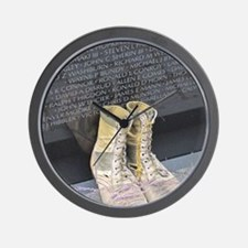 Boots at Vietnam Veterans Memorial Wall Wall Clock