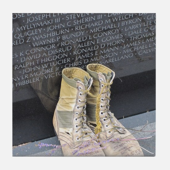 Boots at Vietnam Veterans Memorial Wa Tile Coaster