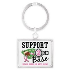 - 2nd Base Breast Cancer Landscape Keychain