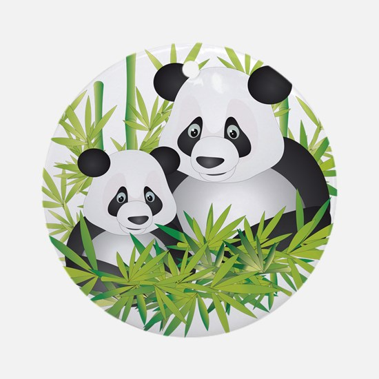 Two Pandas in Bamboo Ornament (Round)