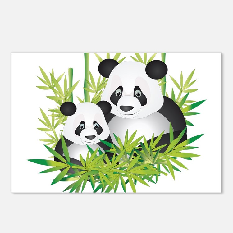 Two Pandas in Bamboo Postcards (Package of 8)