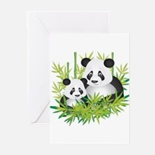 Two Pandas in Bamboo Greeting Cards