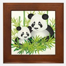 Two Pandas in Bamboo Framed Tile