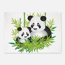Two Pandas in Bamboo 5'x7'Area Rug
