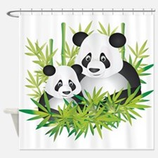 Two Pandas in Bamboo Shower Curtain