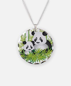 Two Pandas in Bamboo Necklace