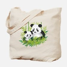 Two Pandas in Bamboo Tote Bag