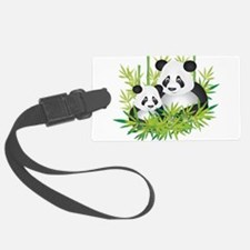 Two Pandas in Bamboo Luggage Tag