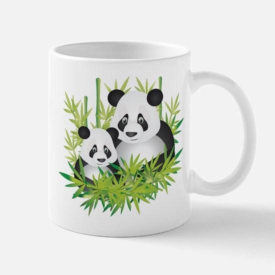 Two Pandas in Bamboo Mugs