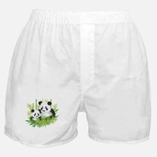 Two Pandas in Bamboo Boxer Shorts