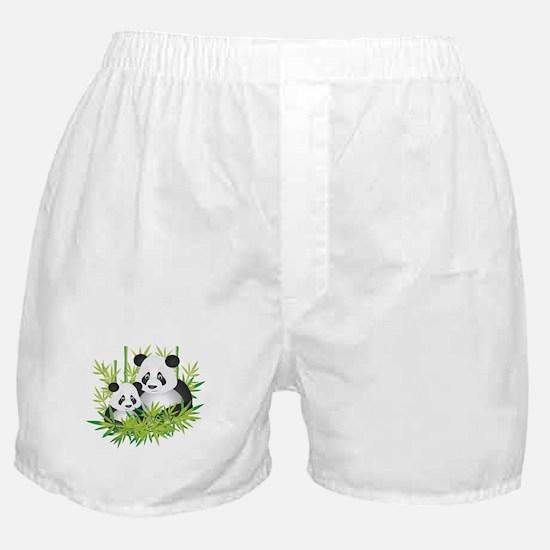 Two Pandas in Bamboo Boxer Shorts