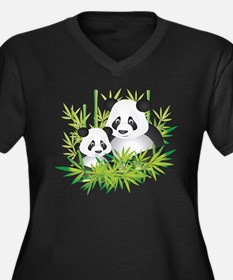 Two Pandas in Bamboo Plus Size T-Shirt