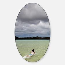 Family swimming at Lake Taharoa, Ka Decal