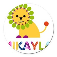 Mikayla-the-lion Round Car Magnet