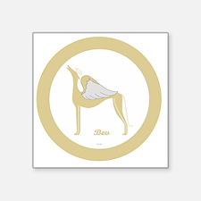 "BEV ANGEL GREY GOLD RIM ROU Square Sticker 3"" x 3"""