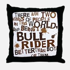 bull_rider_brown Throw Pillow