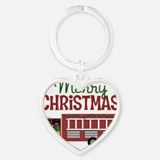 Merry Christmas Fire Truck Heart Keychain