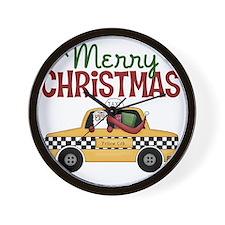 Merry Christmas Taxi Wall Clock