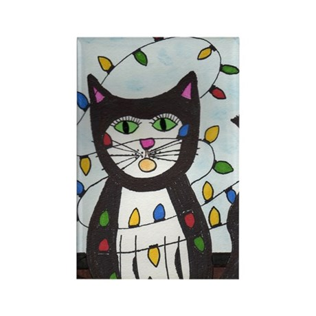 Cat in Christmas Lights Rectangle Magnet