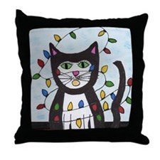 Cat in Christmas Lights Throw Pillow