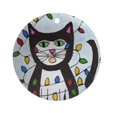 Cat in Christmas Lights Round Ornament