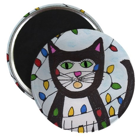 Cat in Christmas Lights Magnet