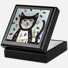 Cat in Christmas Lights Keepsake Box