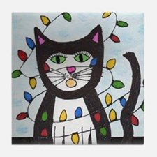 Cat in Christmas Lights Tile Coaster