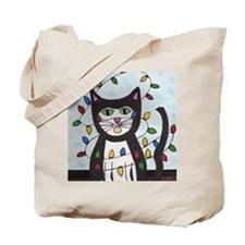 Cat in Christmas Lights Tote Bag