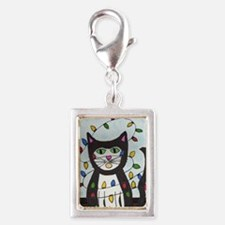 Cat in Christmas Lights Silver Portrait Charm