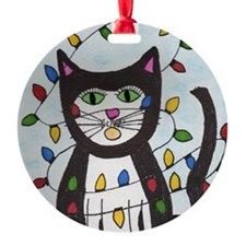 Cat in Christmas Lights Ornament