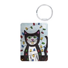 Cat in Christmas Lights Keychains
