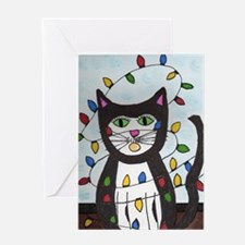 Cat in Christmas Lights Greeting Card