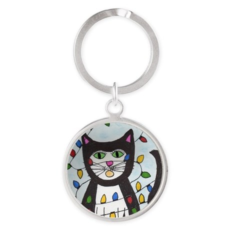 Cat in Christmas Lights Round Keychain