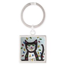 Cat in Christmas Lights Square Keychain