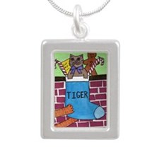 Christmas Cat Stocking Silver Portrait Necklace