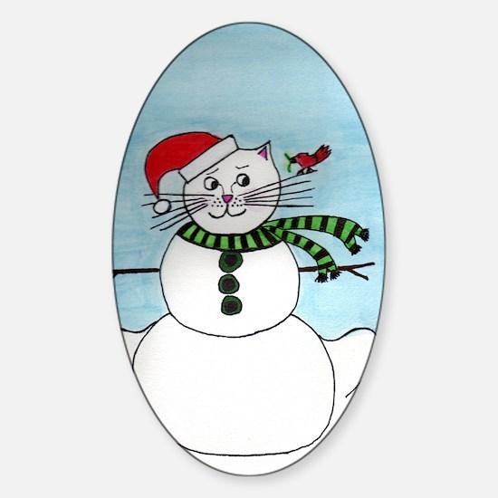Snow Cat Sticker (Oval)