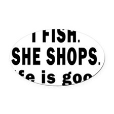 11X11 I FISH CENTERED Oval Car Magnet