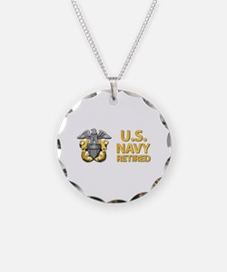 U.S. Navy Retired Necklace Circle Charm