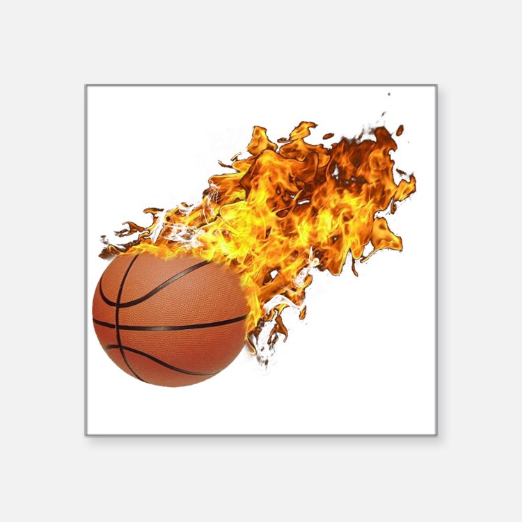"Flaming Basket Ball 2 Square Sticker 3"" x 3"""