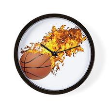 Flaming Basket Ball 2 Wall Clock